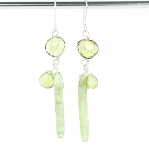 Rose,Cut,Peridot,Earrings,With,Briolettes,&,Green,Kyanite,Drops,unique handcrafted jewelry, handcrafted artisan jewelry, unique gemstone jewelry, unique stone jewelry, handmade jewelry, rose cut jewelry, rose cut peridot earrings, peridot+kyanite+earrings, green kyanite+peridot+earrings, handmade peridot earrings