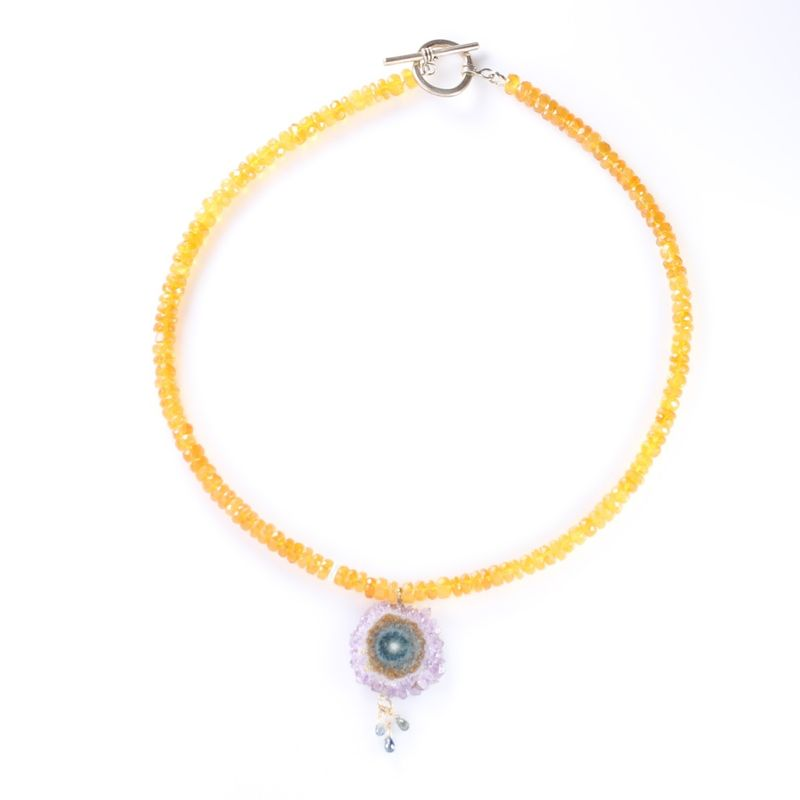 Oregon Fire Opal & Stalactite Necklace With Sapphire Briolettes - product images  of