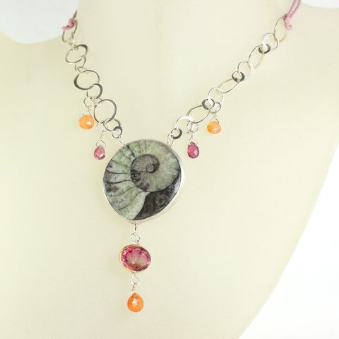 Wanga,Ammonite,Talisman,Necklace,with,Pink,Tourmaline,&,Spessartite,Garnet,Jewelry,fossil,talisman,wanga,love,handmade,New_Orleans,loyalty,orange,pink,orange_garnet,rubellite,pink_tourmaline,charm,ammonite fossil,pink tourmalines,orange garnets,spessartite,sterling silver,22k,14k,gold