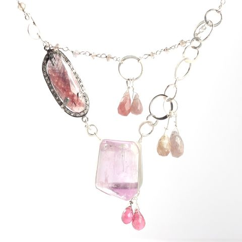 Pink,Kunzite,Sapphire,Tourmaline,&,Diamond,Necklace,with,Smokey,Quartz,unique handcrafted jewelry, handcrafted artisan jewelry, unique gemstone jewelry, unique stone jewelry, handmade jewelry, New Orleans, pink kunzite necklace, pink sapphire+kunzite+necklace, pink sapphire+diamond+kunzite+necklace