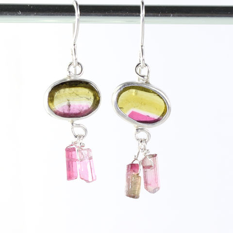 Watermelon,Tourmaline,Earrings,With,Raw,Pink,Crystals,unique handcrafted jewelry, handcrafted artisan jewelry, unique gemstone jewelry, unique stone jewelry, New Orleans, watermelon tourmaline earrings, green, olive, pink crystal earrings, pink tourmaline crystal earrings, watermelon+crystal+tourmaline+earri