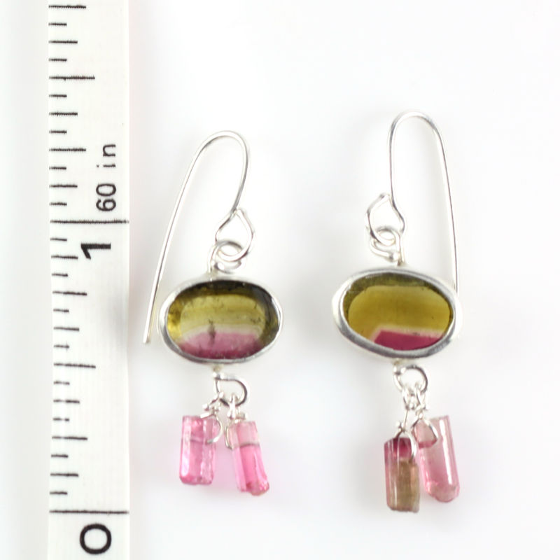 Watermelon Tourmaline Earrings With Raw Pink Crystals - product images  of