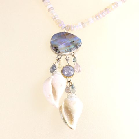 Seashell,Fossil,Druzy,&,Opal,Necklace,With,Boulder,Rose,Cut,Purple,Sapphire,unique handcrafted jewelry, handcrafted artisan jewelry, unique gemstone jewelry, unique stone jewelry, handmade jewelry, New Orleans, necklace, druzy seashell fossil pendant, druzy, seashell, fossil, opal, Australian opal, boulder opal, purple, sapphire+