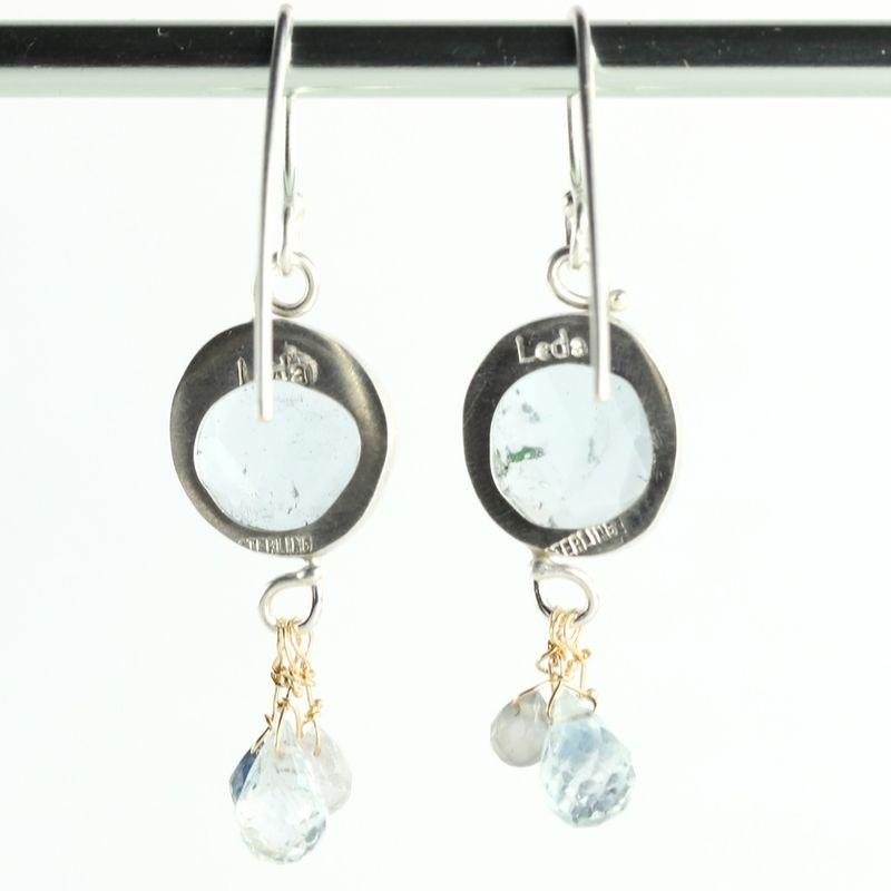 14k goldfill  French earwire Rose cut  Aquamarine  briolette