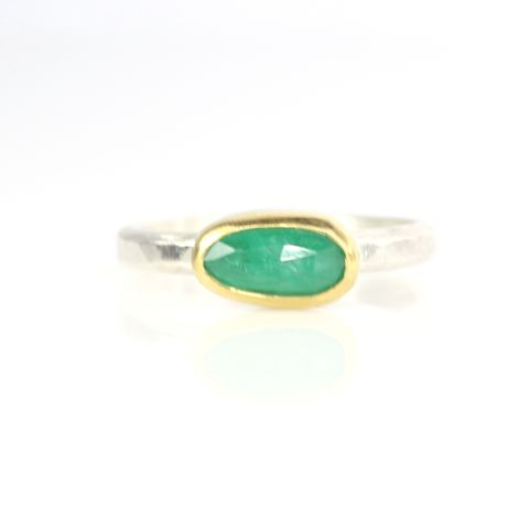 Rose,Cut,Natural,Emerald,Stacking,Ring,unique handcrafted jewelry, handcrafted artisan jewelry, unique gemstone jewelry, unique stone jewelry, rose cut, green, emerald, rose cut emerald, ring, stacking ring, stackable, handmade, jewelry, New Orleans, silver, gold, natural, green ring