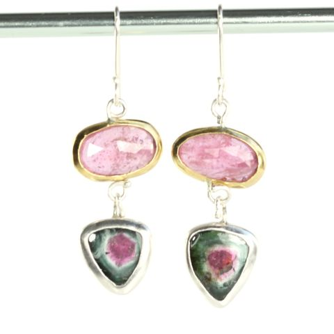 Rose,Cut,Pink,Sapphire,Earrings,With,Watermelon,Tourmaline,Slices,handmade jewelry, unique handcrafted jewelry, handcrafted artisan jewelry, unique gemstone jewelry, unique stone jewelry, New Orleans, September birthstone, October birthstone,pink sapphire, rose cut pink sapphire earrings, rose cut, watermelon tourmaline