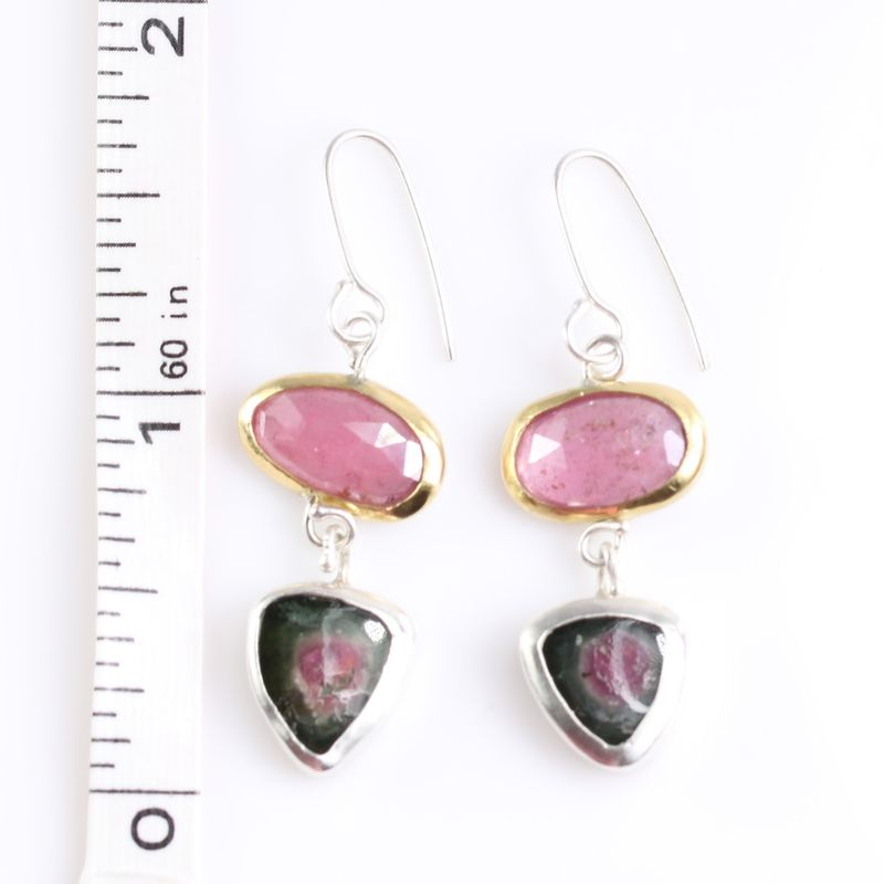 Rose Cut Pink Sapphire Earrings With Watermelon Tourmaline Slices - product images  of
