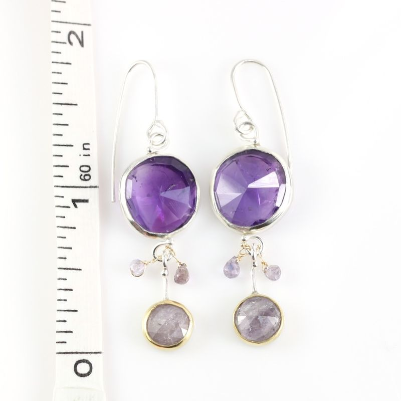 Rose Cut Amethyst & Purple Sapphire Earrings - product images  of