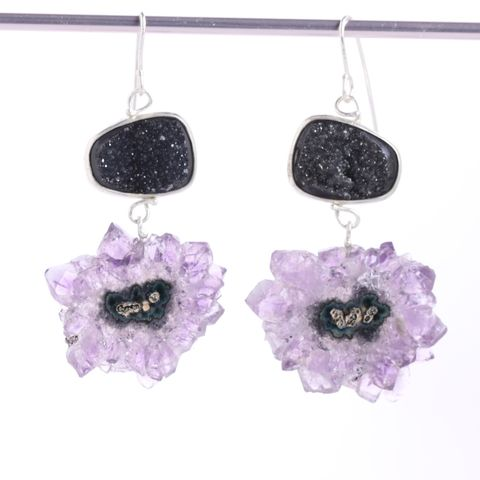Black,Druzy,Earrings,With,Stalactite,Slice,Drops,unique handcrafted earrings, handcrafted artisan jewelry, Unique gemstone jewelry, druzy jewelry, druzy earring, handmade jewelry, New Orleans, stalactite earring, earrings, black druzy earring, amethyst, drop dangle, stalactite druzy earri
