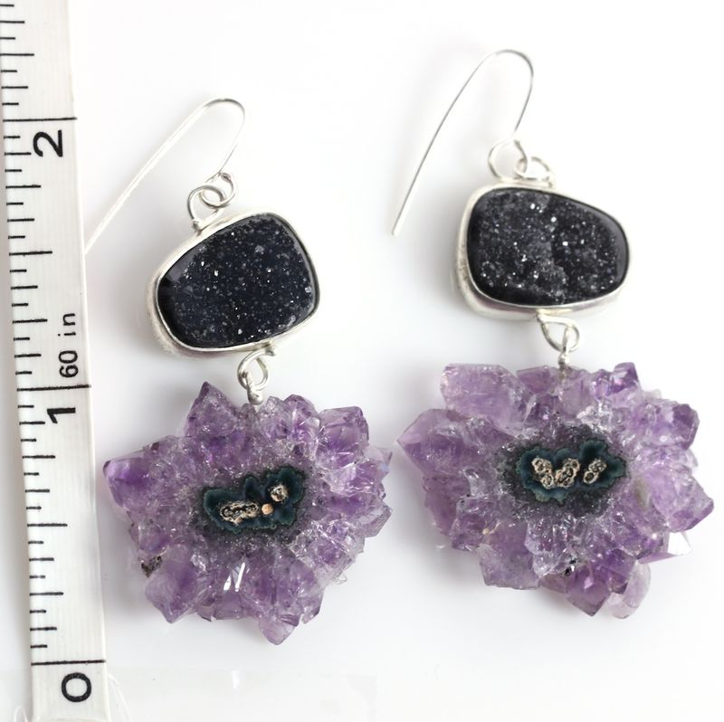Black Druzy Earrings With Stalactite Slice Drops - product images  of