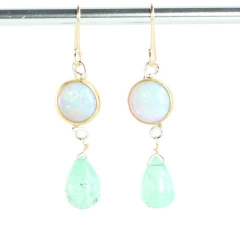 Australian,Opal,Earrings,With,Emerald,Drops,unique handcrafted jewelry, handcrafted artisan jewelry, unique gemstone jewelry, unique stone jewelry, handmade emerald earrings, New Orleans, emerald, green, emerald earrings, opal earrings, opal emerald earrings
