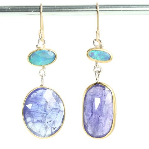 Lighting,Ridge,Opal,Earrings,With,Rose,Cut,Tanzanite,Drops,rose cut jewelry, unique handcrafted jewelry, handcrafted artisan jewelry, unique gemstone jewelry, unique stone jewelryrose cut tanzanite, rose cut tanzanite earrings, tanzanite+opal+earringsmis matched earrings, earrings, opal earrings, tanzanite earrin