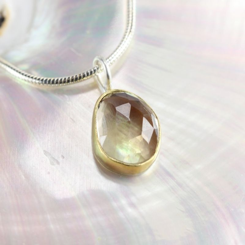 Rose Cut Champagne Citrine Pendant - product images  of