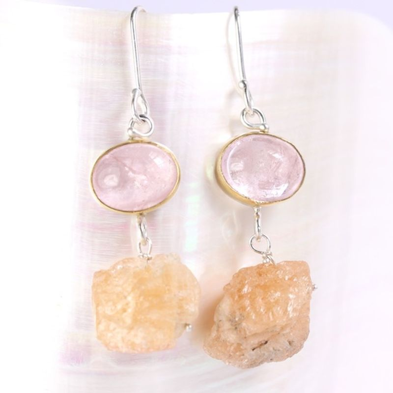Morganite Earrings With Raw Topaz Crystal Drops - product images  of
