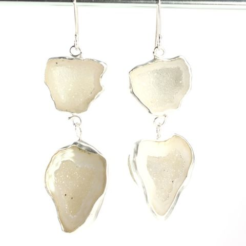 White,Baby,Geode,Double,Drop,Earrings,Jewelry,Dangle,baby,geode,tabasco,mini,druzy,earrings,jewelry,handmade,New_Orleans,dangle,drop,goddess,white,geodes,fine silver,sterling silver