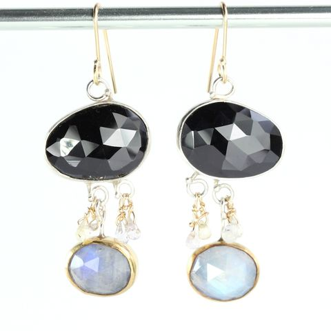 Rose,Cut,Black,Spinel,Earrings,With,Moonstones,and,Sapphire,Briolettes,rose cut, rose cut spinel, black spinel, earrings, rainbow moonstone, moonstone, spinel moonstone, sapphire, briolettes, rose cut moonstone, rose cut jewelry, handmade rose cut jewelry, handmade rose cut earrings,unique handcrafted jewelry, handcrafted ar