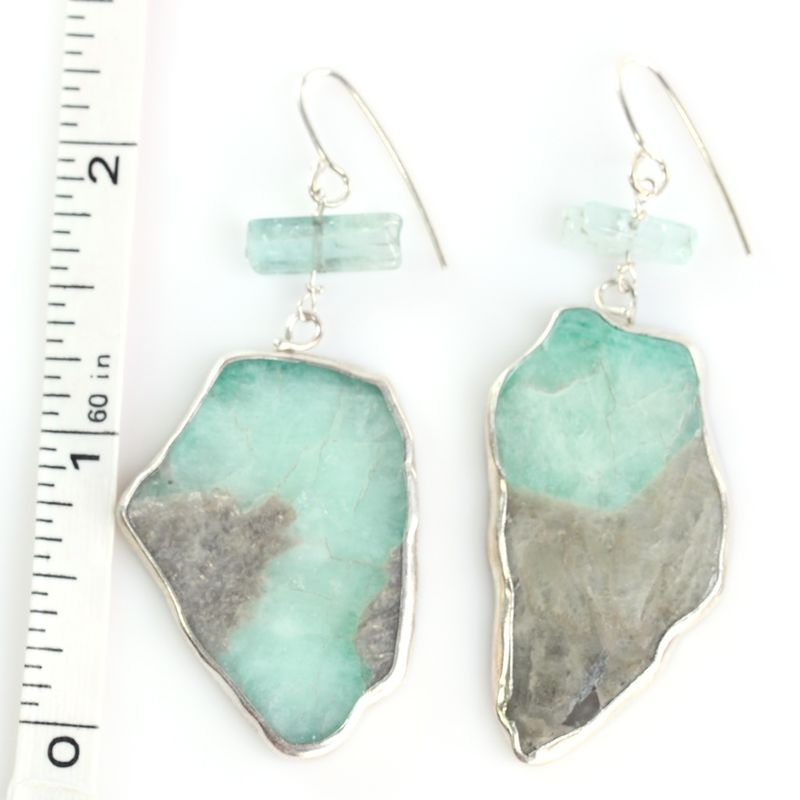 Sugarcane Emerald Earrings With Raw Tourmaline Crystals - product images  of