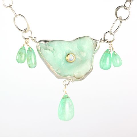 Raw,Chrysoprase,Pendant,Necklace,With,Emerald,Drops,Talisman jewelry, talisman necklace, talisman pendant, handmade talisman, natural crystal jewelry, handmade raw crystal jewelry, unique handcrafted jewelry, handcrafted artisan jewelry, unique gemstone jewelry, unique stone jewelry, unique chrysoprase jew