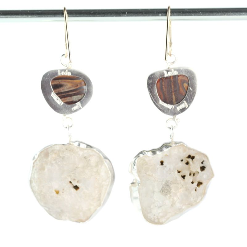 Australian Boulder Opal Earrings With Baby Geode Drops - product images  of