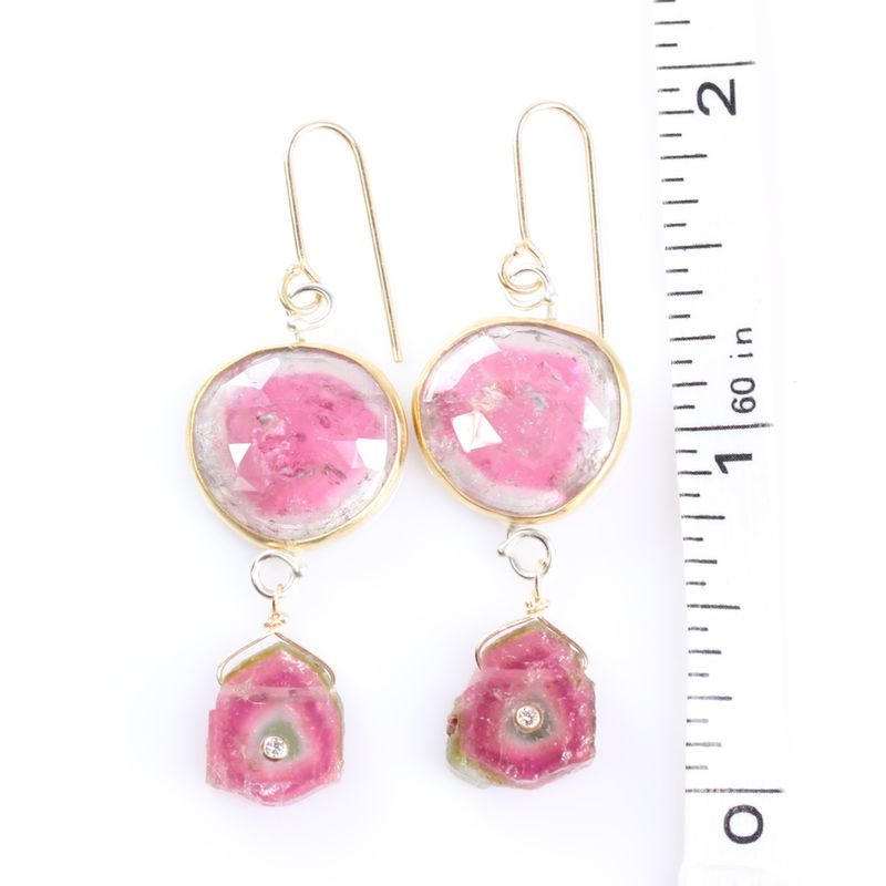 Rose Cut Tourmaline Earrings With Watermelon Slices and Diamonds - product images  of