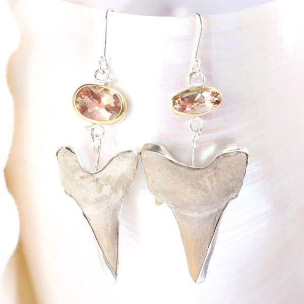 Oregon Sunstone Earrings With Fossilized Shark Teeth - product images  of