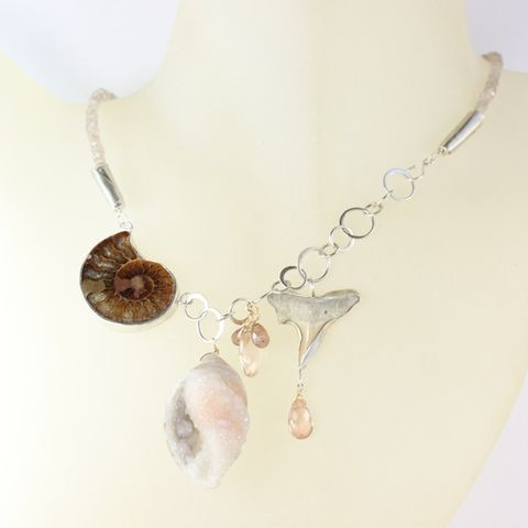 Fossil,Necklace,handmade fossil jewelry, handmade fossil necklace, handcrafted fossil jewelry, handcrafted fossil necklace, handmade ammonite jewelry, handmade ammonite necklace, handmade druzy fossil seashell jewelry, handmade druzy fossil seashell necklace, druzy fossi
