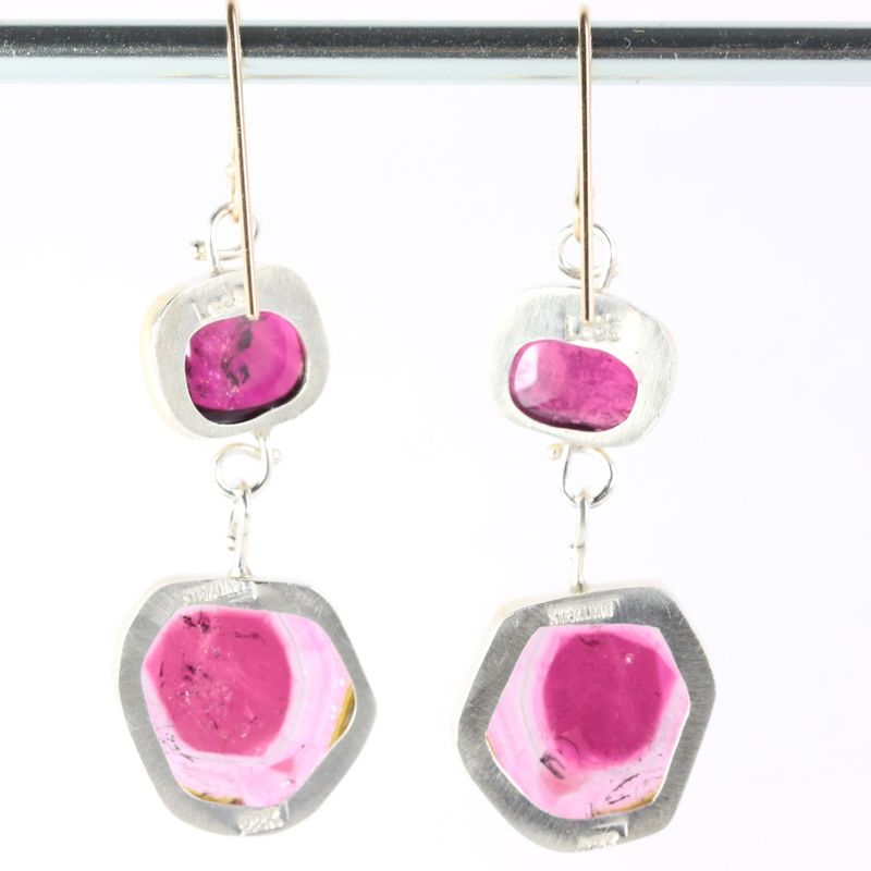 Pink Rubelite Tourmaline Earrings With Watermelon Drops - product images  of