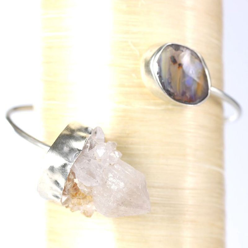 Australian Boulder Opal & Raw Crystal Quartz Bangle - product images  of