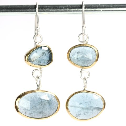 Rose,Cut,Moss,Aquamarine,Double,Drop,Earrings,moss_aquamarine_rose_cut_earrings_ 22K_gold_sterling_silver_handmade_jewelry, rose cut jewelry, handmade rose cut jewelry, natural crystal jewelry, handmade raw crystal jewelry, natural_aquamarine