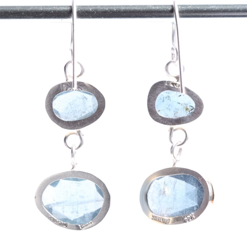 Rose Cut Moss Aquamarine Double Drop Earrings - product images  of