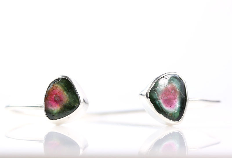 Watermelon Tourmaline Double Gemstone Bracelet Cuff - product images  of