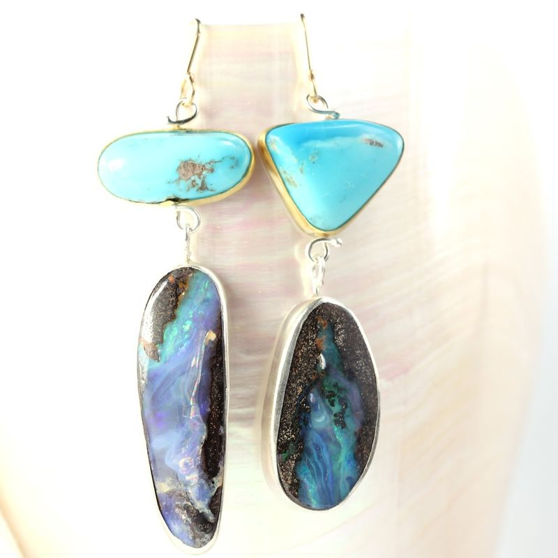 Natural Turquoise & Boulder Opal Miss Matched Earrings - product images  of