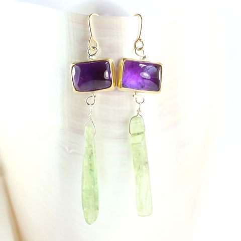 Amethyst,&,Green,Kyanite,Earrings,green_kyanite_purple_African_amethyst_sugarloaf_cabochon_earrings_jewelry_handmade_New Orleans_unique handcrafted jewelry, handcrafted artisan jewelry, unique gemstone jewelry, unique stone jewelry