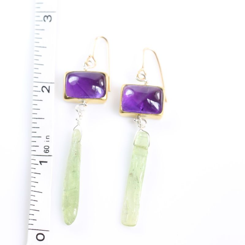 Amethyst & Green Kyanite Earrings - product images  of