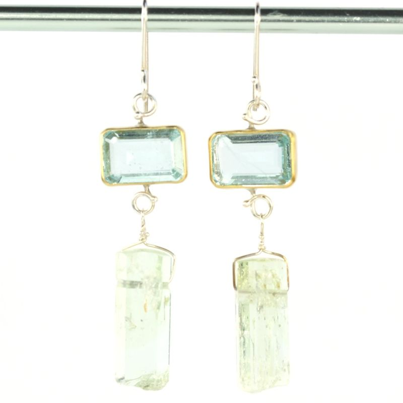 Emerald Cut Aquamarine & Polished Beryl Crystal Earrings - product images  of