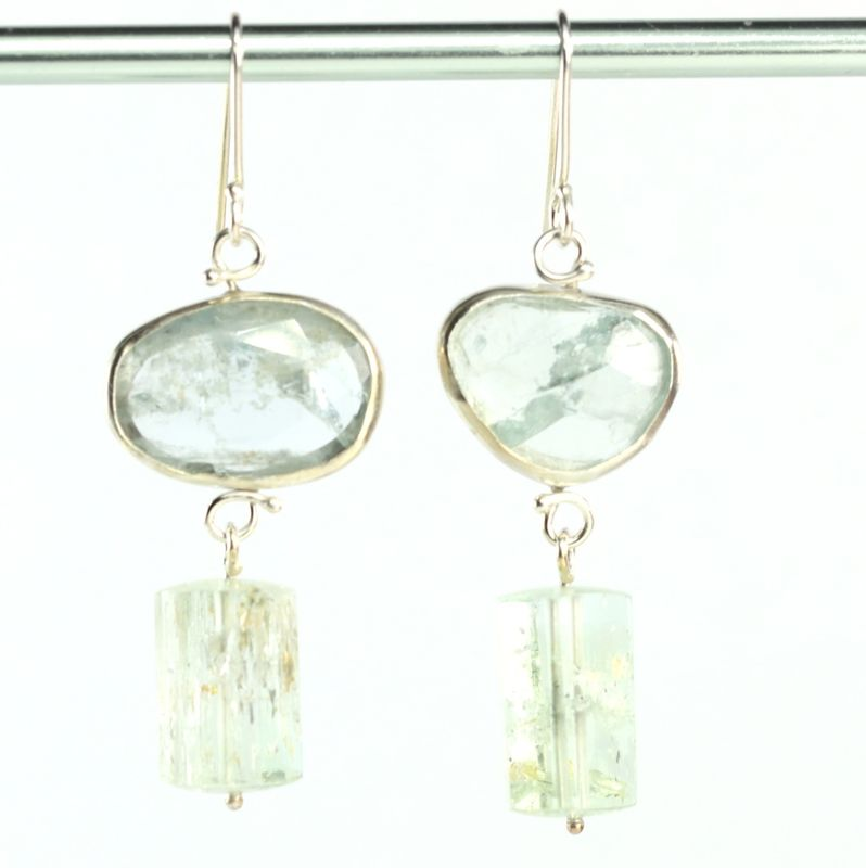 Rose Cut Aquamarine Earrings with Polished Beryl Crystals - product images  of