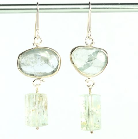 Rose,Cut,Aquamarine,Earrings,with,Polished,Beryl,Crystals,aquamarine_earrings_polished_beryl_natural_crystal_handmade_dangle_drop_emerald cut_unique handcrafted jewelry, handcrafted artisan jewelry, unique gemstone jewelry, unique stone jewelry, natural crystal jewelry, handmade raw crystal jewelry, rose cut aqu