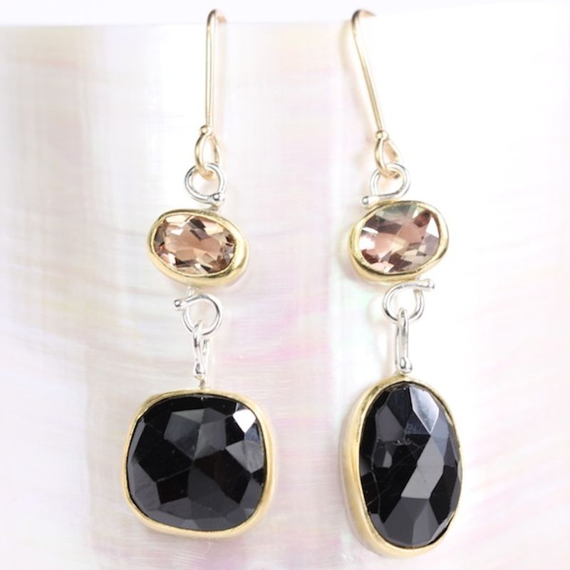 Rose Cut Oregon Sunstone Earrings With Black Spinel Drops - product images  of
