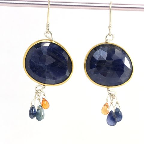 Rose,Cut,Natural,Blue,Sapphire,Earrings,with,Orange,&,Briolettes,unique handcrafted jewelry, handcrafted artisan jewelry, unique gemstone jewelry, unique stone jewelry, handmade rose cut jewelry, rose cut sapphire earrings, sapphire earrings, sapphire earrings with briolettes, blue+orange+sapphire+earrings