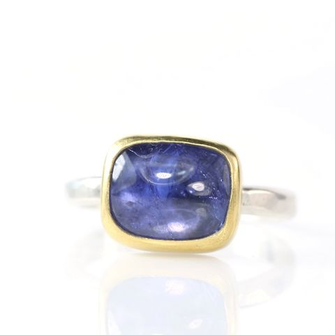 Tanzanite,Ring,tanzanite_stacking_ring_cabochon_rectangular_december_birthstone_handmade_unique_handcrafted_jewelry_ artisan _unique_gemstone _stone_natural_New Orleans_jewelry_ring_22K_gold_sterling_silver