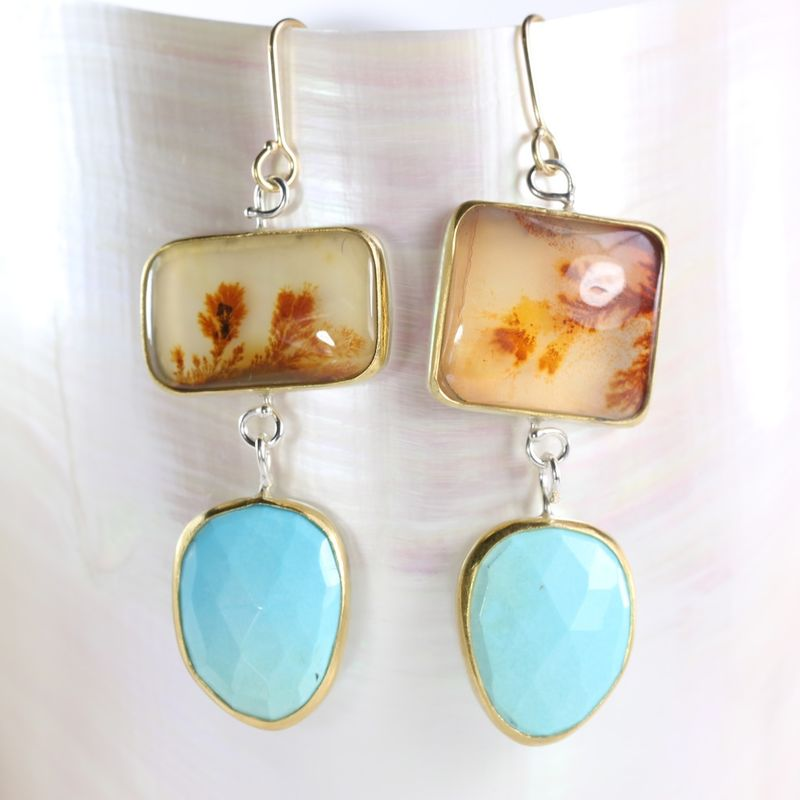 Dendritic Agate and Turquoise Drop Earrings - product images  of
