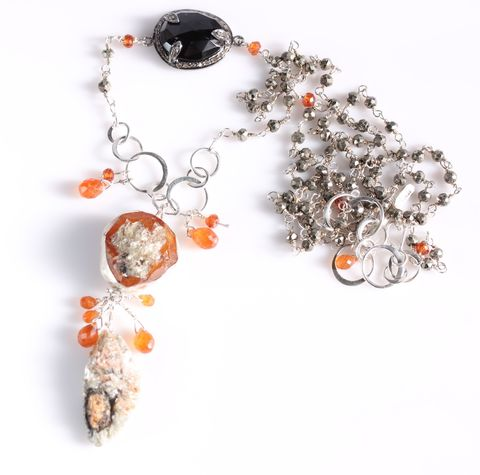 Spessartite,Garnet,Orange,Kyanite,&,Black,Spinel,Talisman,Necklace,talisman_necklace_long_spessartite_spessartine_garnet_raw_orange_kyanite_pyrite_mica_black_spinel_rose_cut_raw_crystal_charm_handmade_unique_handcrafted_jewelry_ artisan _unique_gemstone _stone_natural_new Orleans_