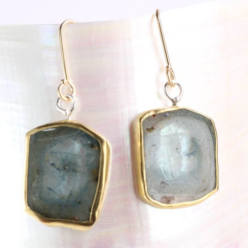Natural Aquamarine Crystal Slice Earrings - product images  of