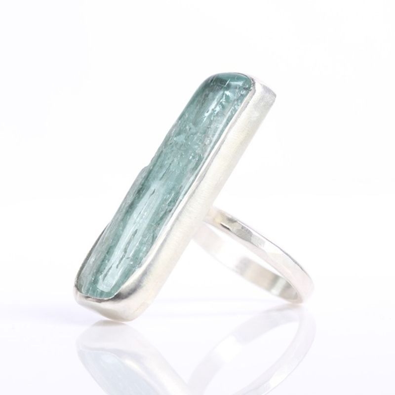 Polished Natural Aquamarine Crystal Ring - product images  of