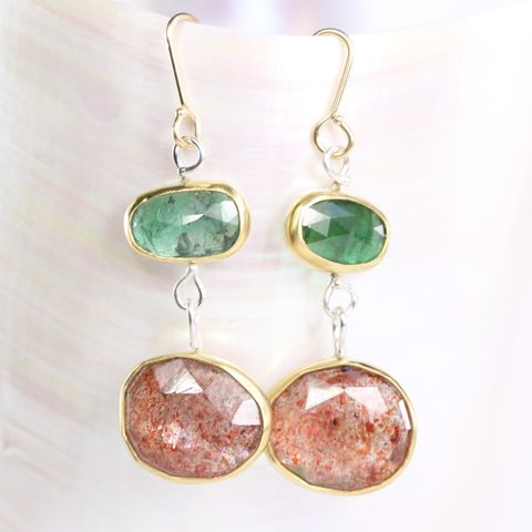 Rose,Cut,Emerald,&,Sunstone,Earrings,rose_cut_emerald_sunstone_earrings_mismatched_22K_gold_silver_natural_handmade_unique_handcrafted_jewelry_ artisan _unique_gemstone _stone_beryl_berylicious_new Orleans_