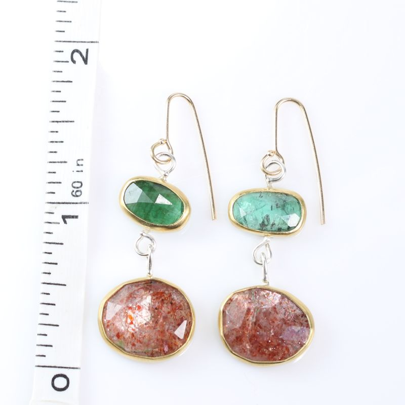 Rose Cut Emerald & Sunstone Earrings - product images  of