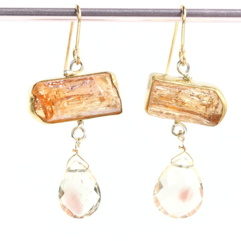 Raw Imperial Topaz Crystal Earrings With Oregon Sunstone Briolettes Leda Jewel Co