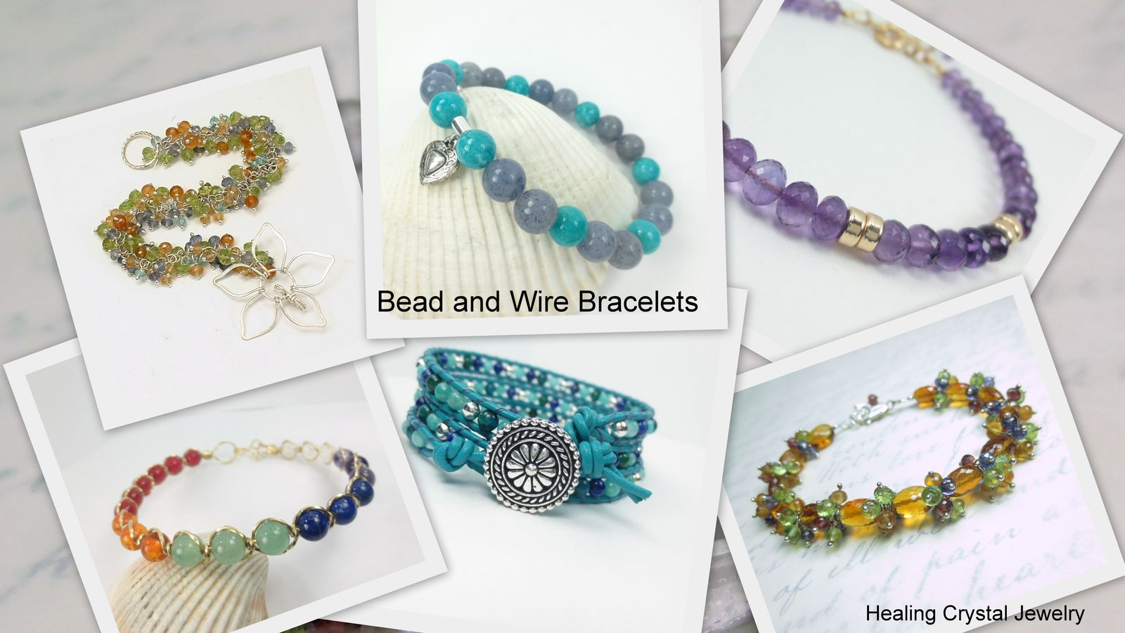 healing crystal jewelry bead and wire bracelets