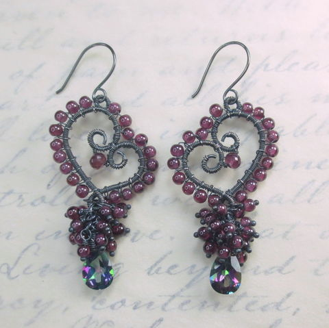 Pink,Garnet,Gemstone,Cluster,Wirework,Heart,Earrings,,Argentium,Sterling,Silver,Nickel,Free,Tarnish,Resistant,Wire.,Shipping.,garnet, wire wrapped, gemstone, cluster earrings, heart earrings, heart jewelry, mystic topaz, garnet earrings, wirework earrings, wire work earrings
