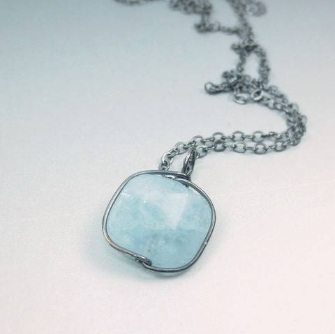 Baby,Blue,Aquamarine,Faceted,Slice,Bead,Drop,,Argentium,Sterling,Silver,18,Inch,Necklace,healing crystal, crystal healing, chakra, energy, healing, aquamarine, birthday jewelry, march birthstone, nickel free, argentium, sterling, silver